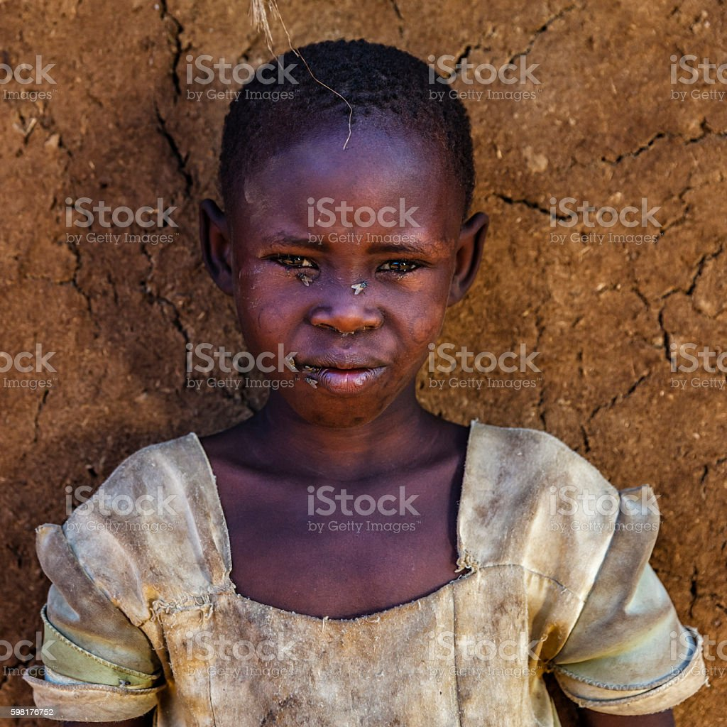 Little African girl from Maasai tribe, Kenya, Africa stock photo