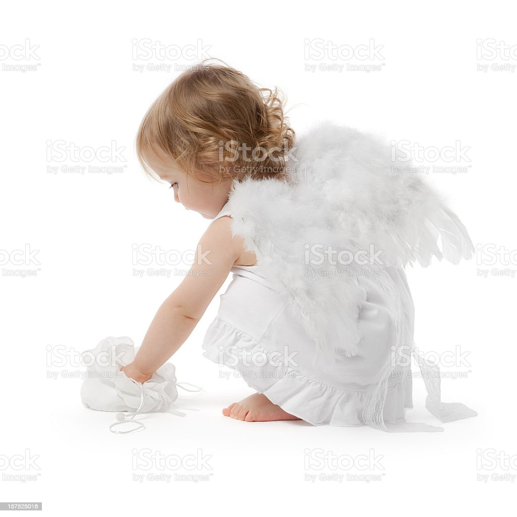 Little angel girl stock photo