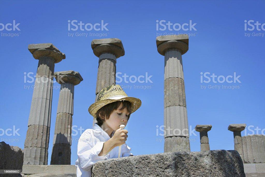 Little archaeologist stock photo