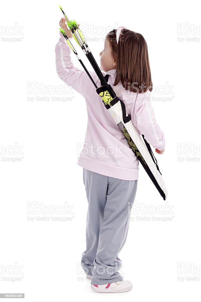 Little Archery Girl Taking Arrow From Quiver royalty-free stock photo
