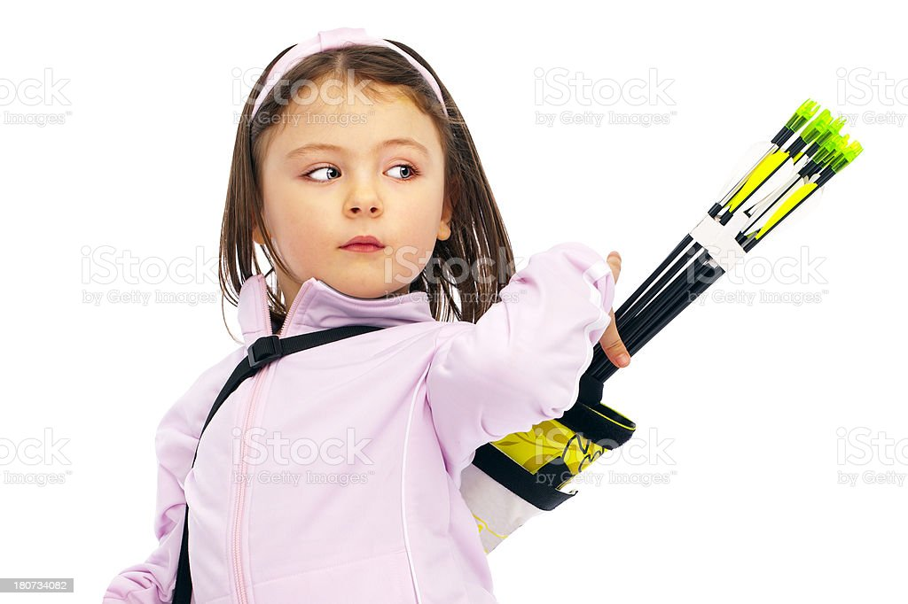 Little Archery girl taking arrow in quiver royalty-free stock photo