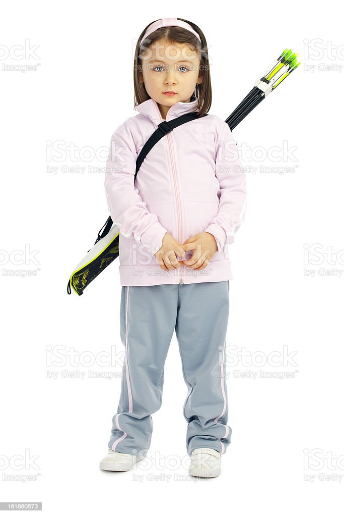 Little Archery Girl Wating for Train royalty-free stock photo