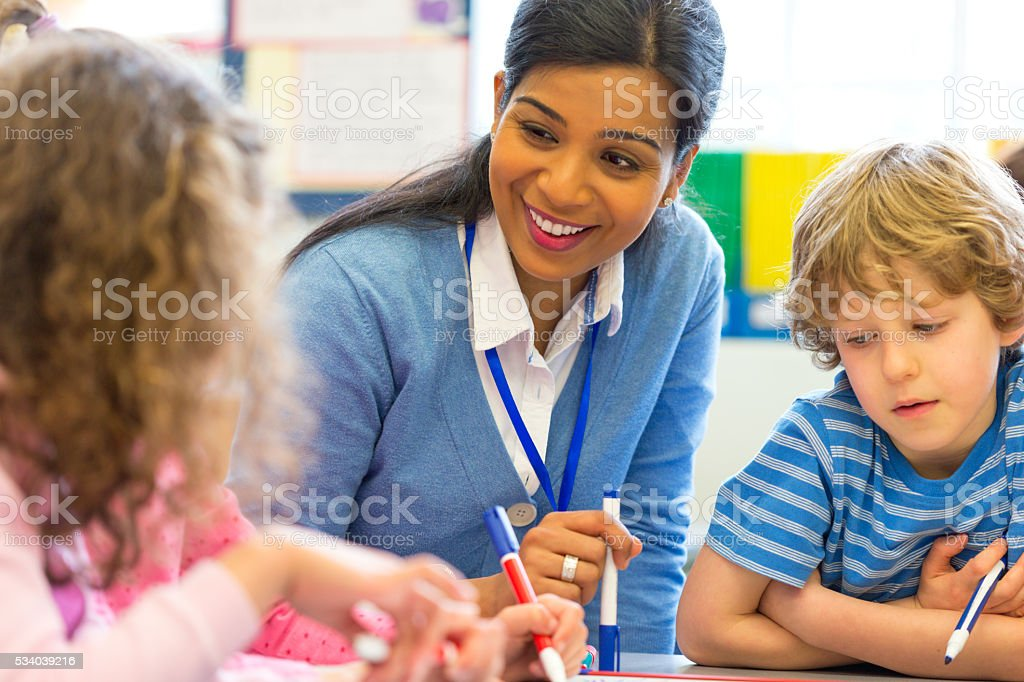 Little Artist with their Teacher stock photo