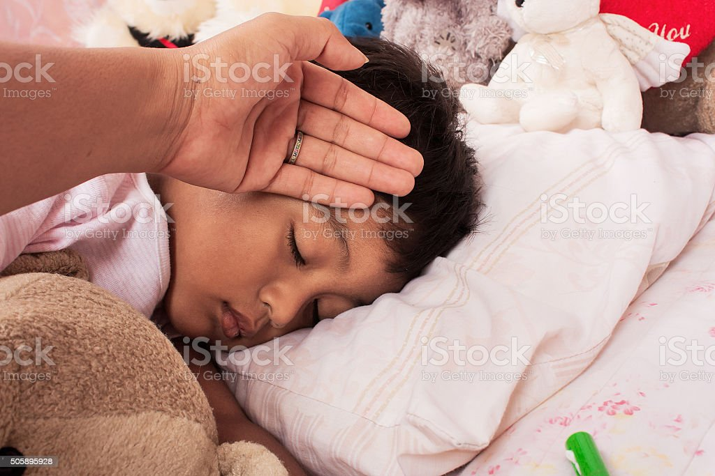 little asian boy sick stock photo