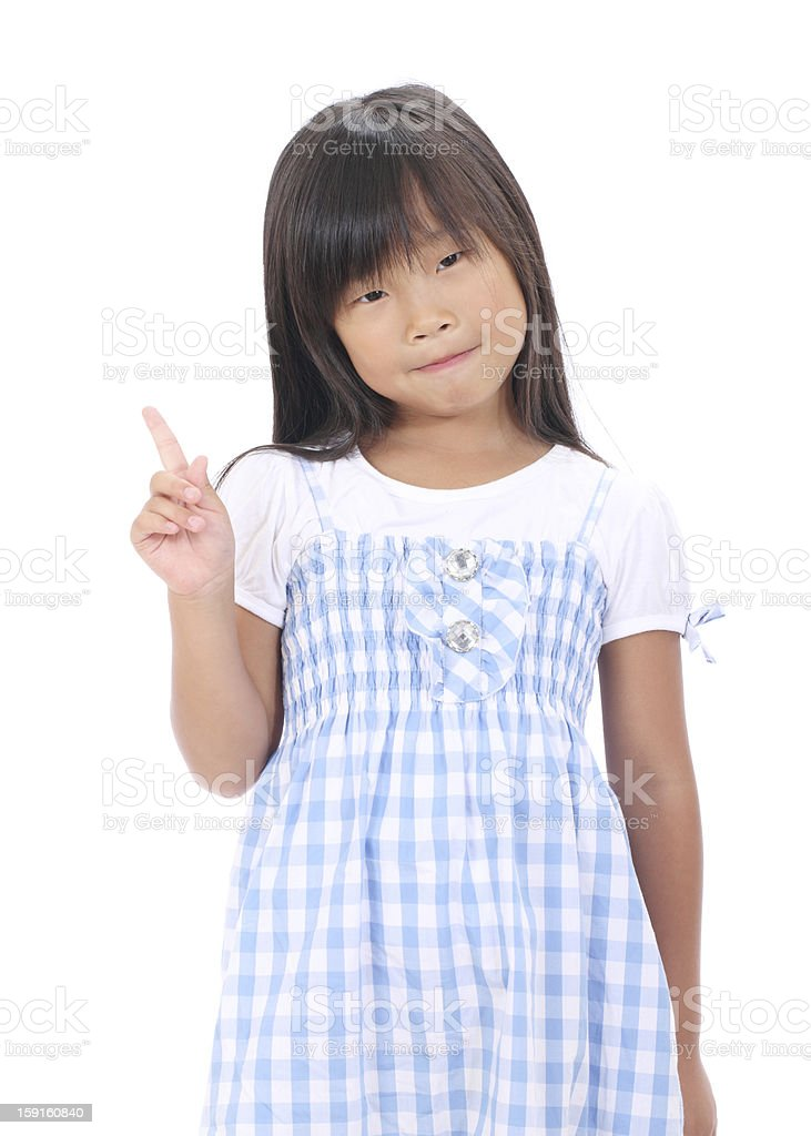 Little asian girl pointing royalty-free stock photo