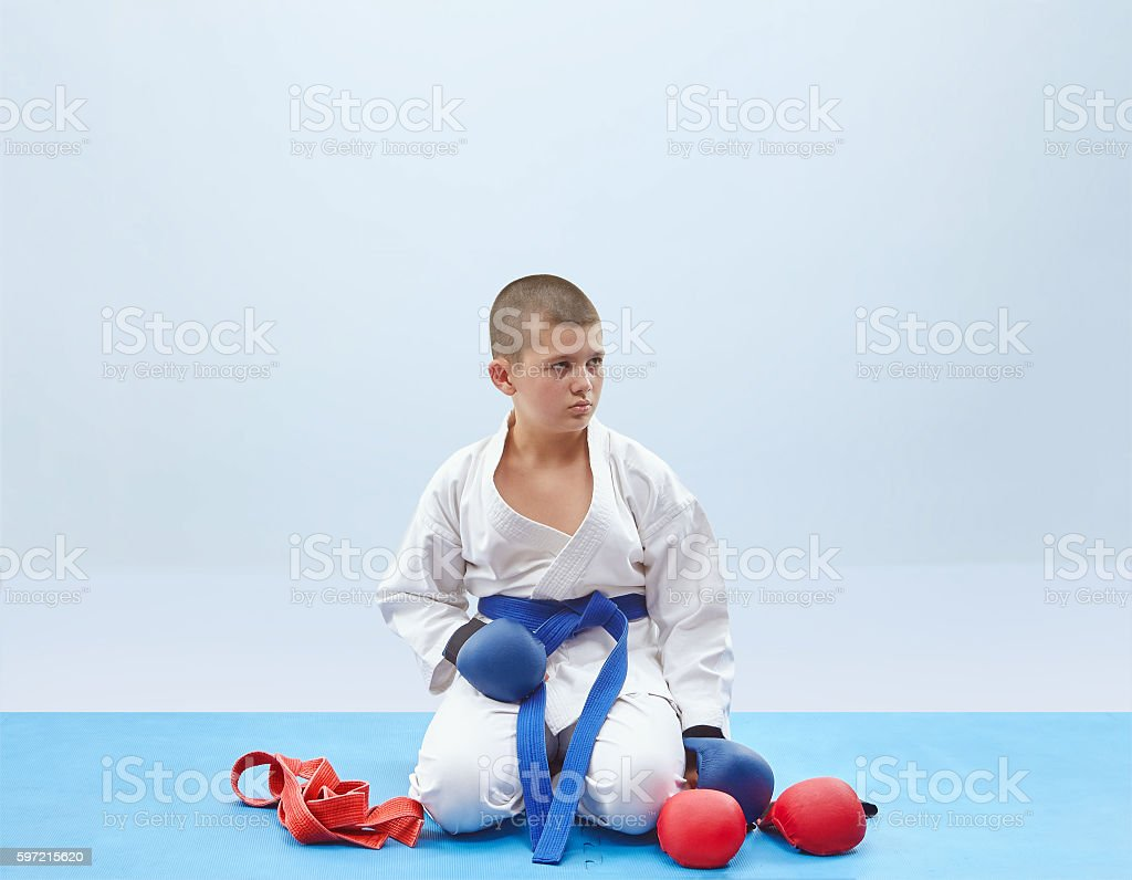 Little athlete and outfit karate stock photo