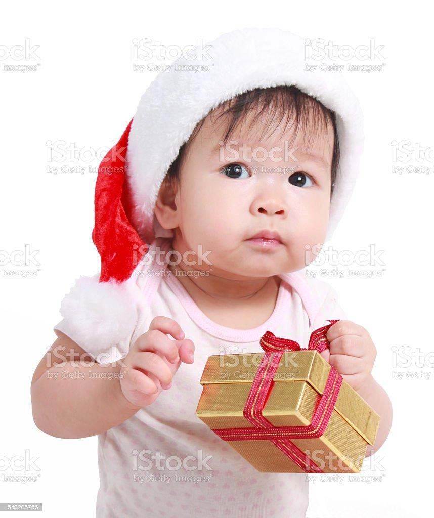 Little baby celebrates Christmas. New Year's holidays. Lizenzfreies stock-foto