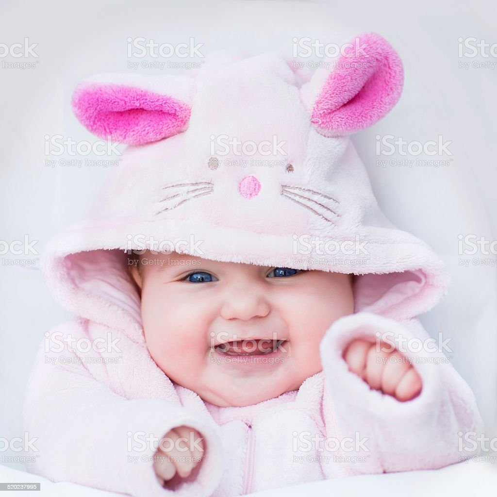 Little baby dressed as bunny stock photo