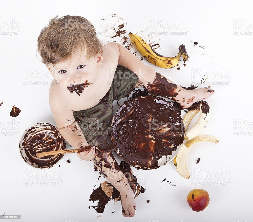 little baby eat cake royalty-free stock photo