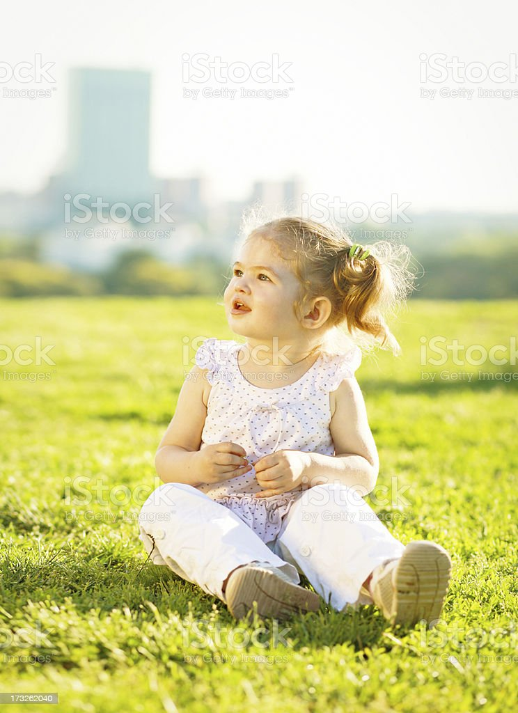 little baby girl in the park royalty-free stock photo