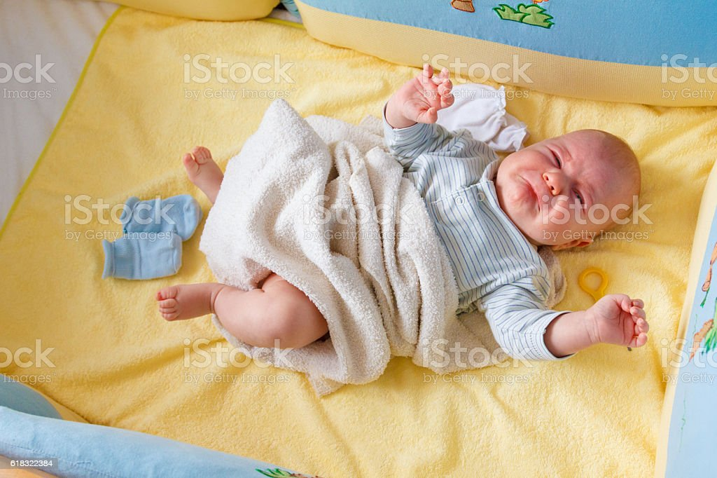 little baby is screaming stock photo
