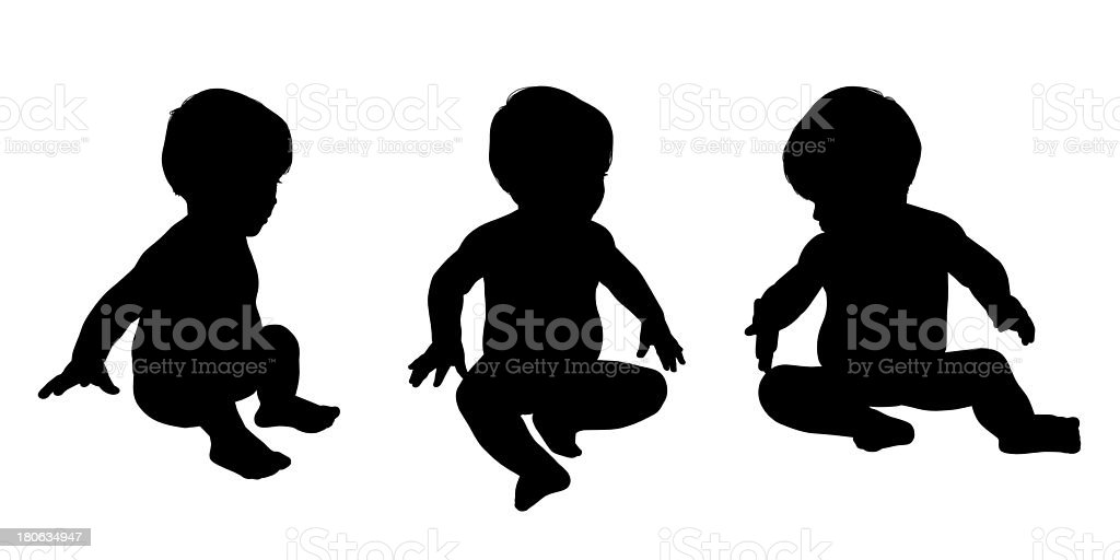 little baby sitting silhouettes set royalty-free stock photo