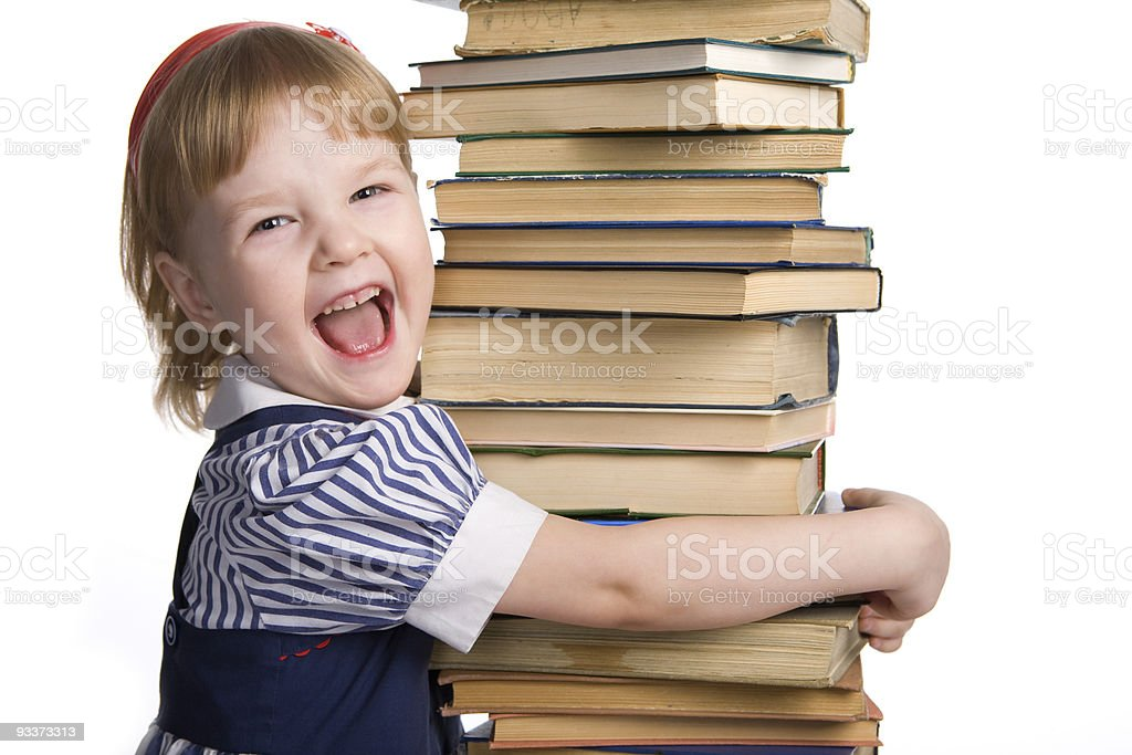 little baby with books isolated royalty-free stock photo