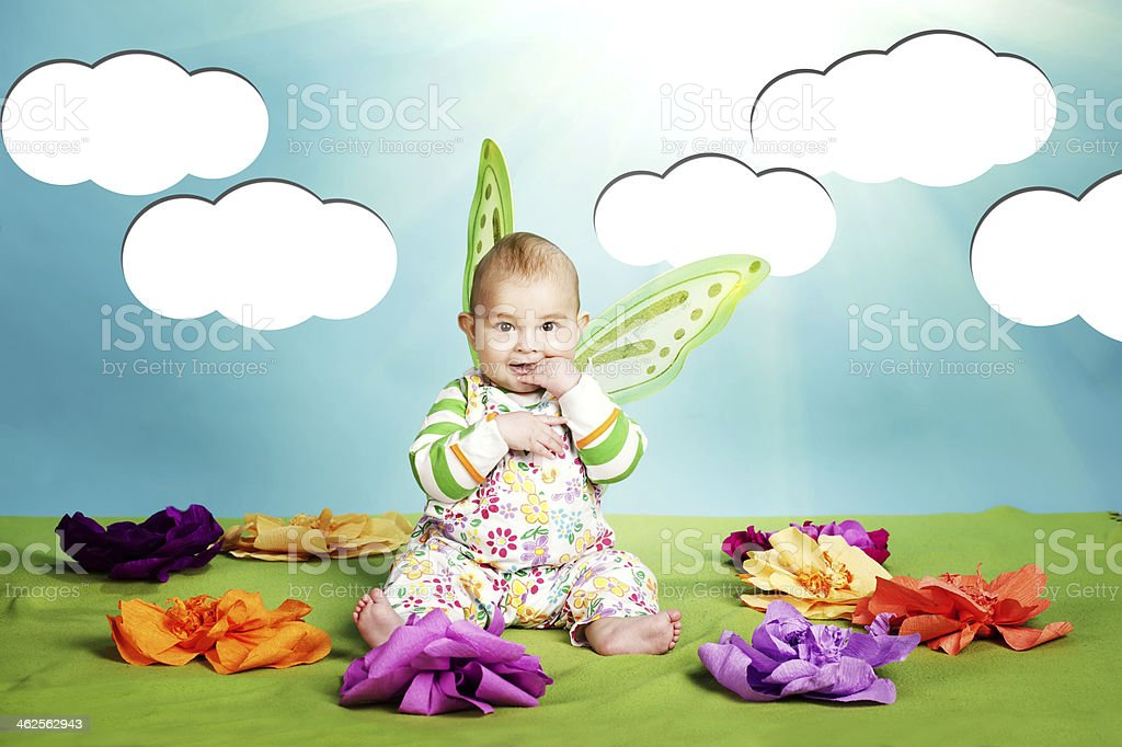 little baby with butterfly costume stock photo