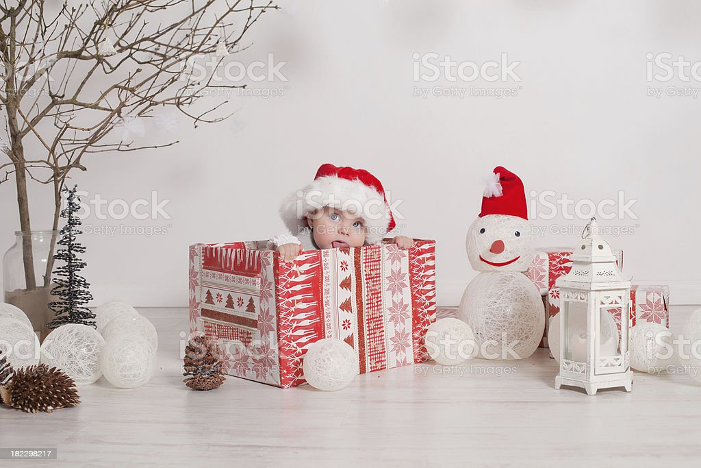 little baby with Santa costume. royalty-free stock photo
