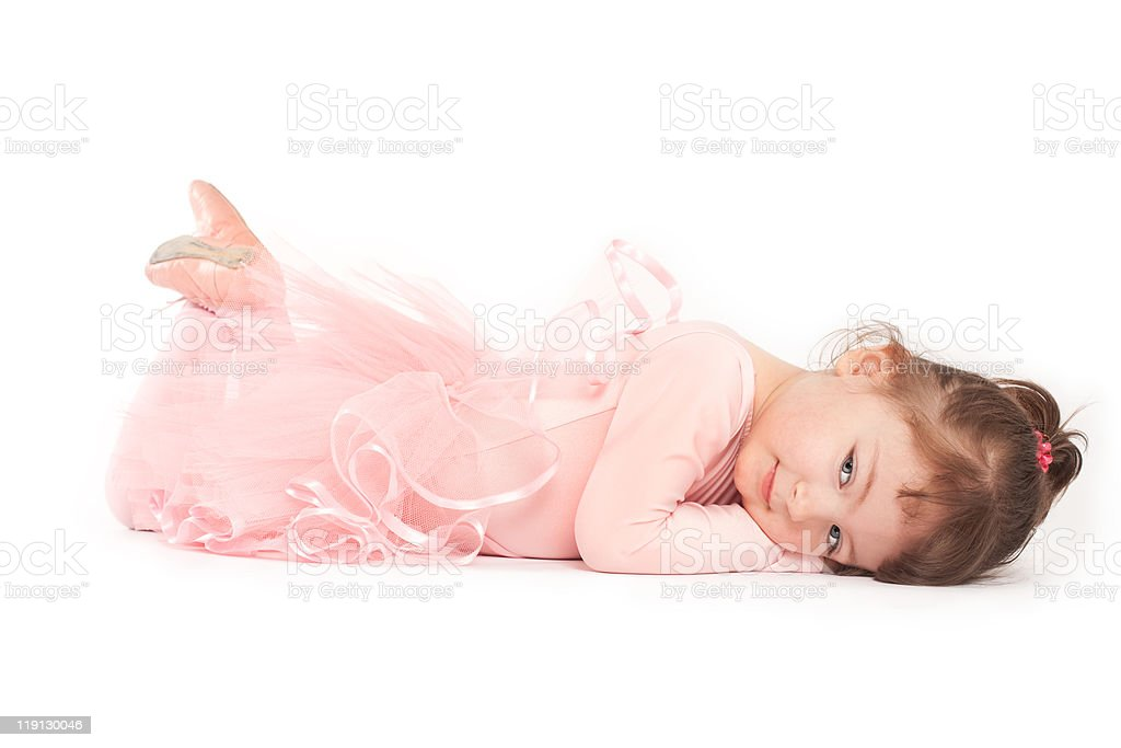 Little Ballerina Lying on Front royalty-free stock photo