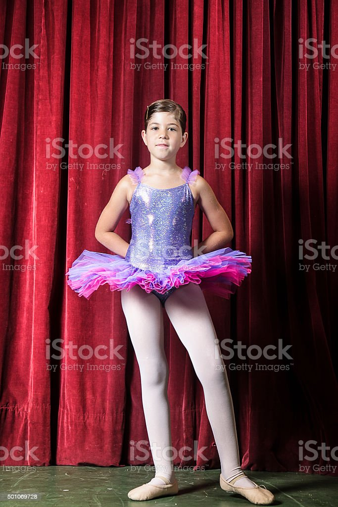 Little ballerina on stage stock photo