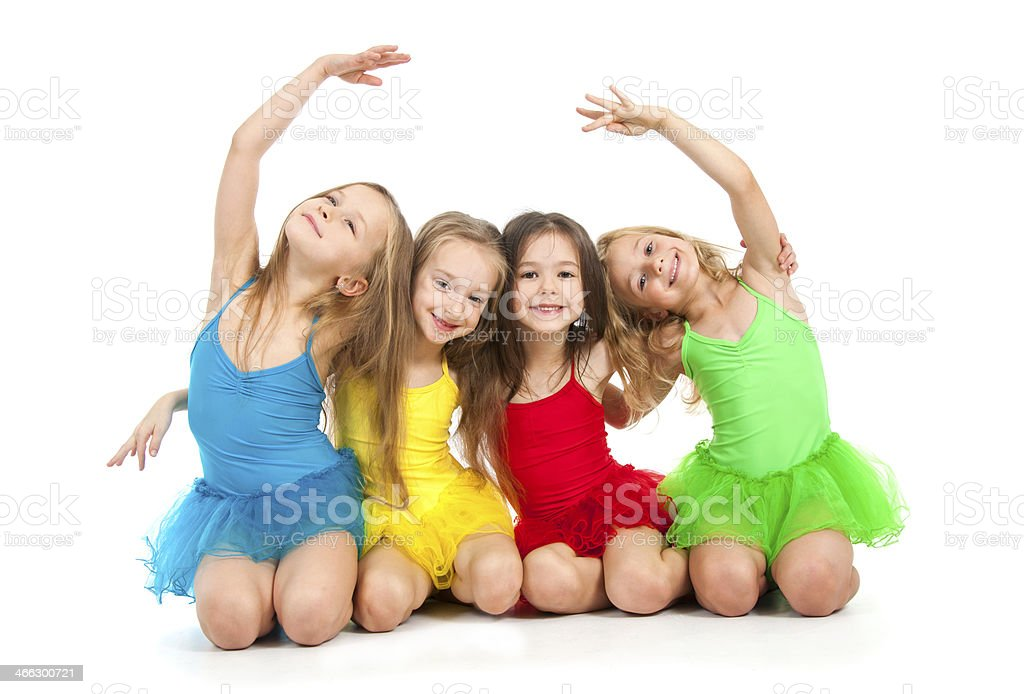 Little ballet dancers stock photo
