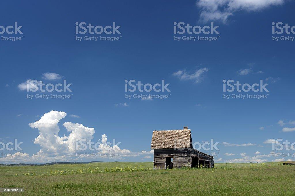 little barn on the Prarie, Oklahoma USA stock photo