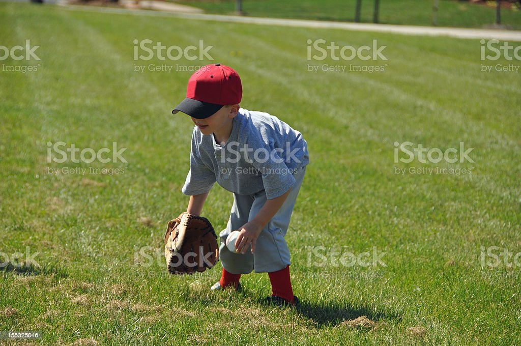 little baseball fielder stock photo
