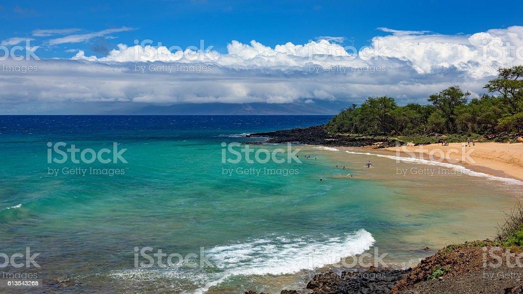 Little beach at Makena State Park on Maui, Hawaii stock photo