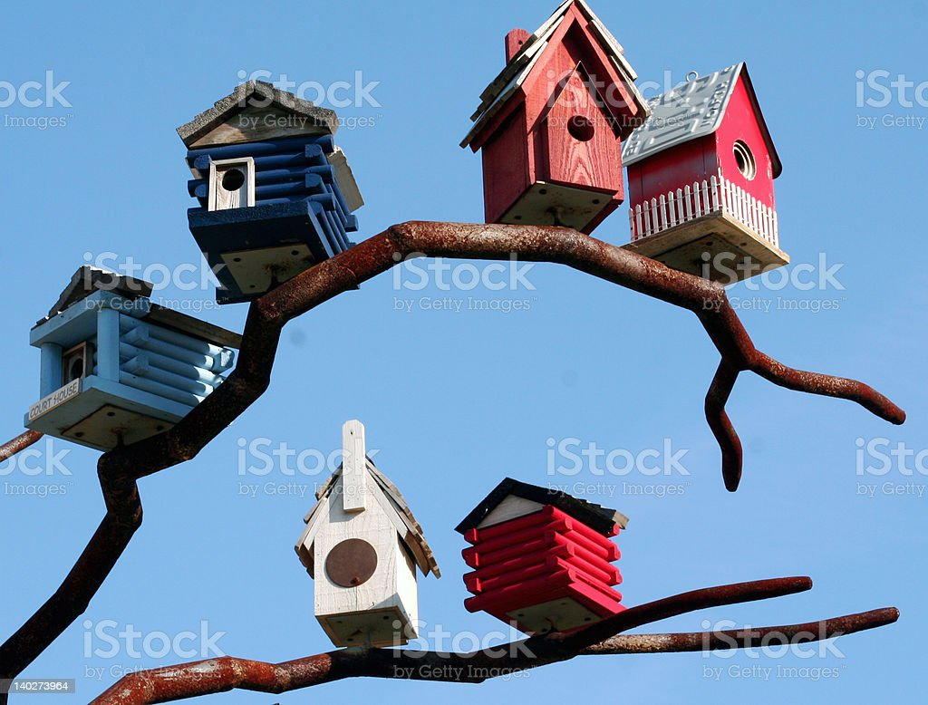 little birdhouses stock photo