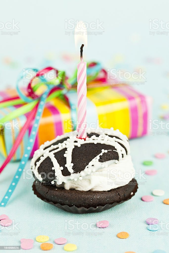 Little Birthday Cake and Gift stock photo