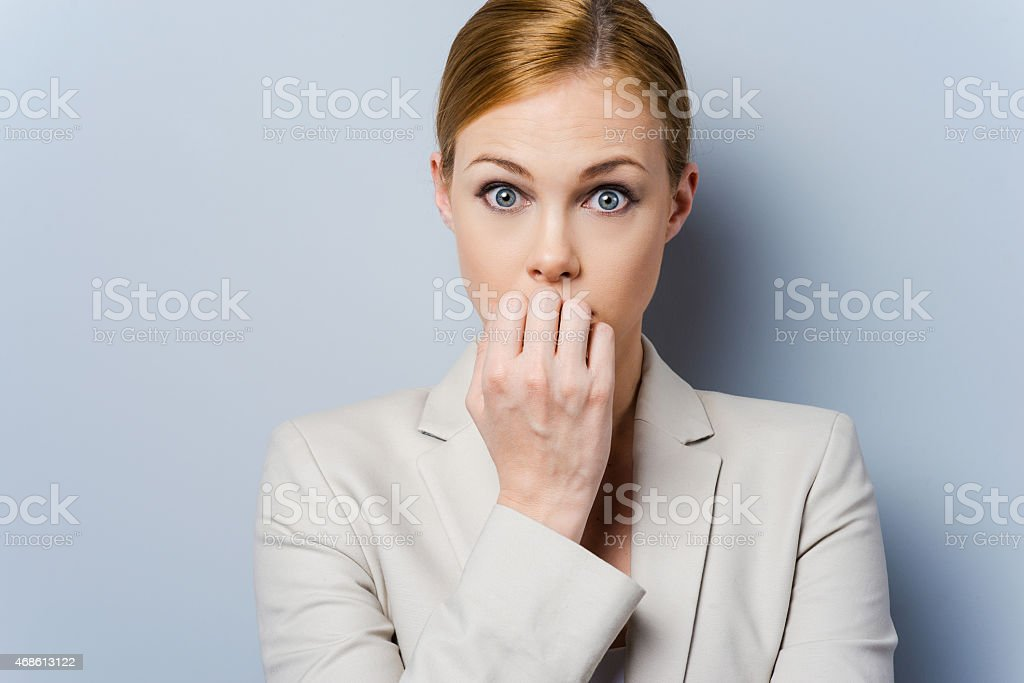 Little bit nervous. stock photo