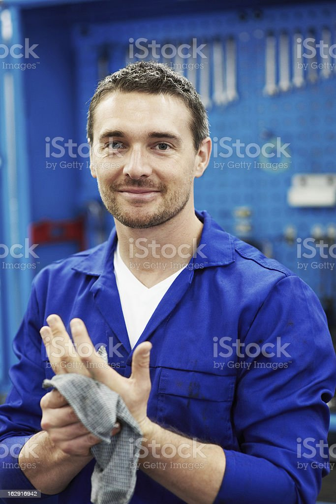 Little bit of elbow-grease ensures a thorough service! stock photo