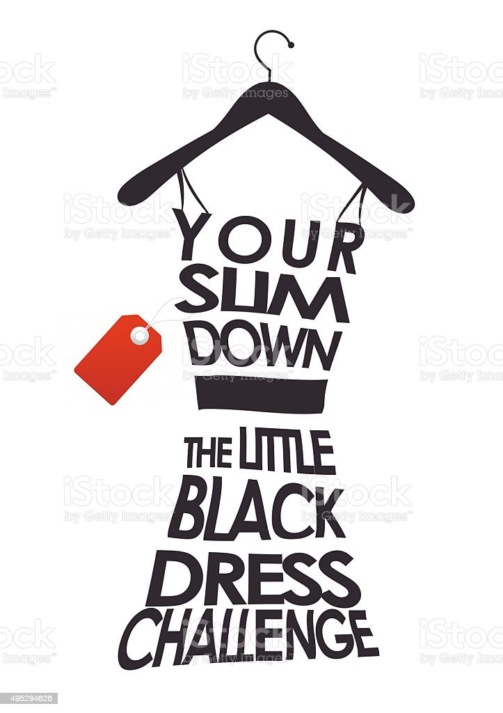 Little black dress challenge weight loss woman clothes hanger gym stock photo