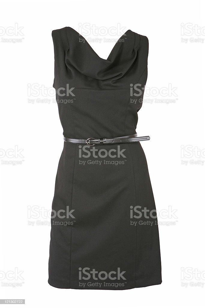 Little black dress with belt stock photo