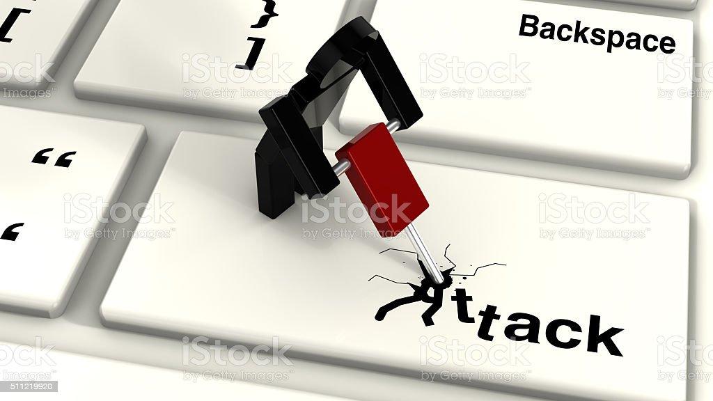 Little black hacker on a keyboard stock photo