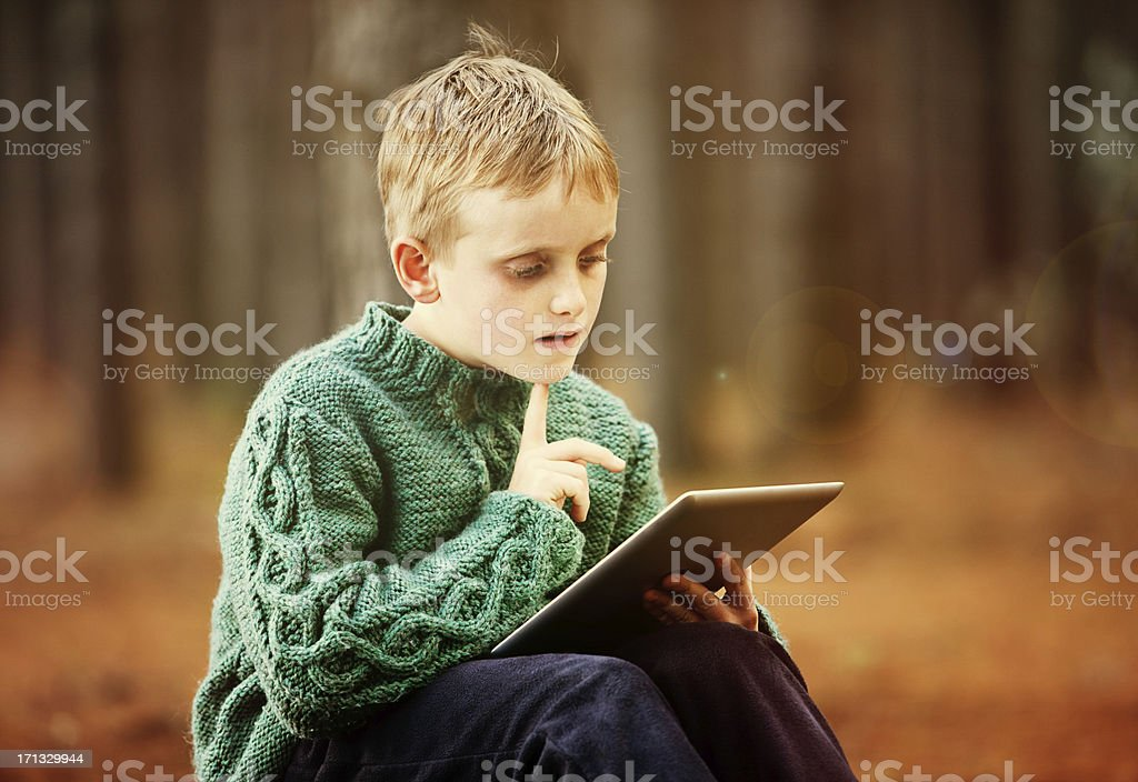 Little blond boy fascinated by tablet-style computer stock photo