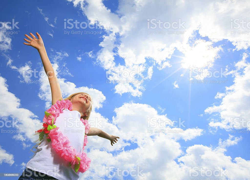 Little Blond Girl - Fly High royalty-free stock photo
