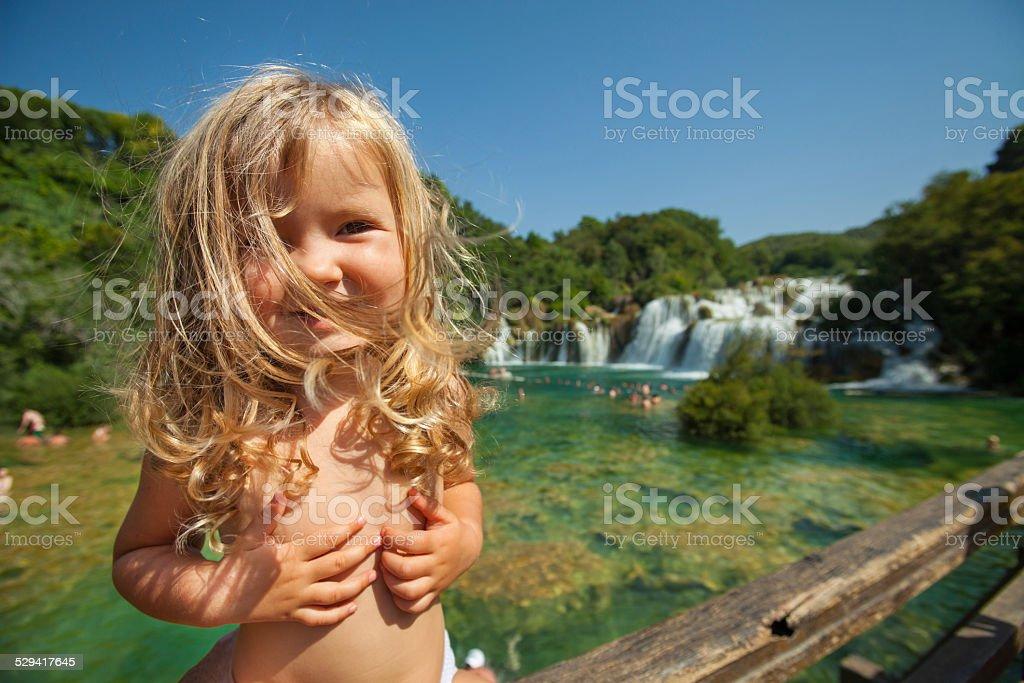 Little blonde gir stock photo