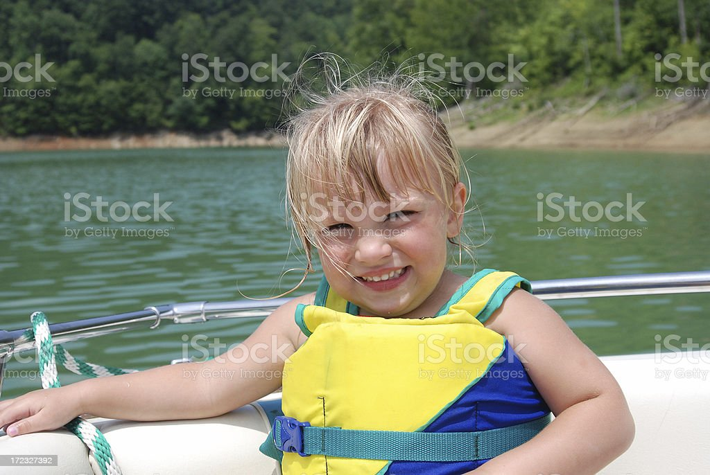 Little Blonde on a Boat stock photo