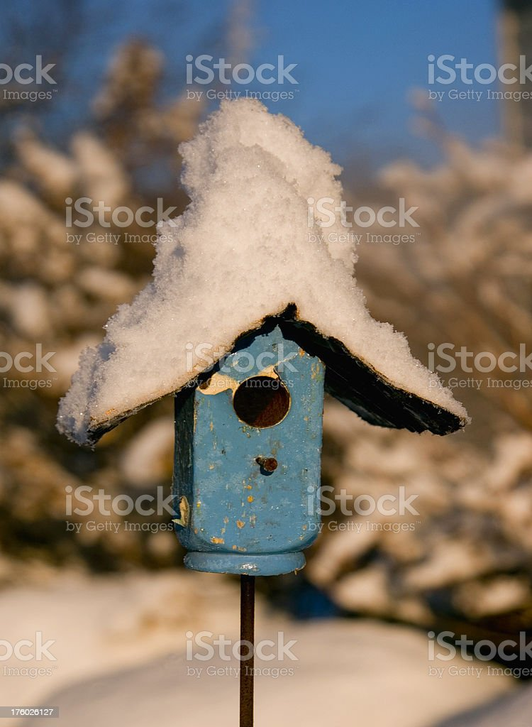 little blue bird house with snowy top royalty-free stock photo