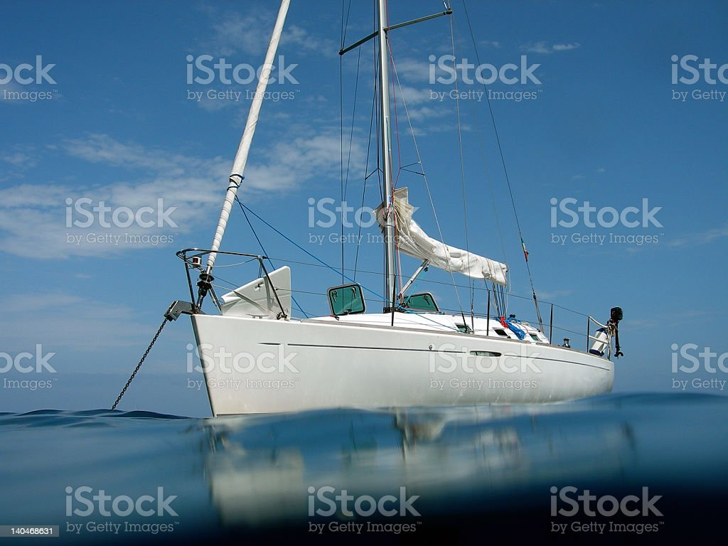 little boat anchorage from the water royalty-free stock photo