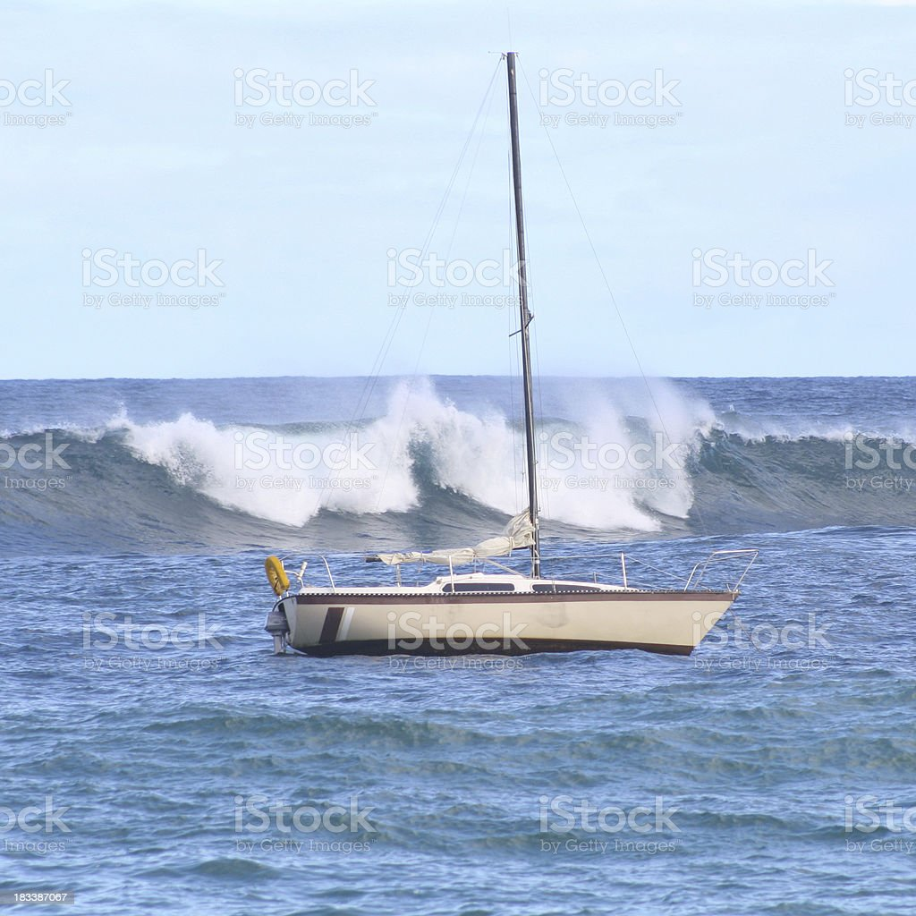 Little Boat in Big Waves royalty-free stock photo