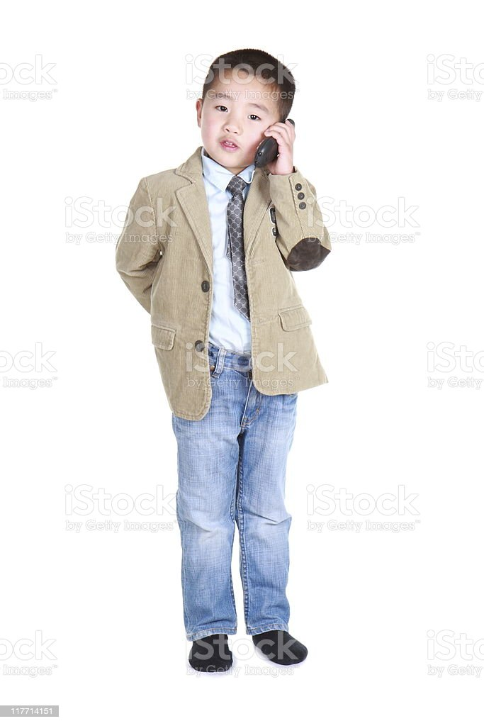 little boy acting like business man (series) royalty-free stock photo