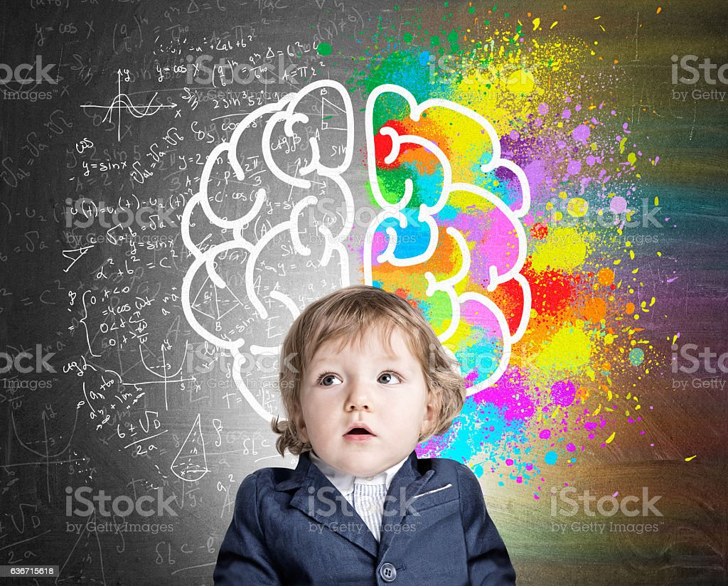 Little boy and a colorful brain sketch stock photo