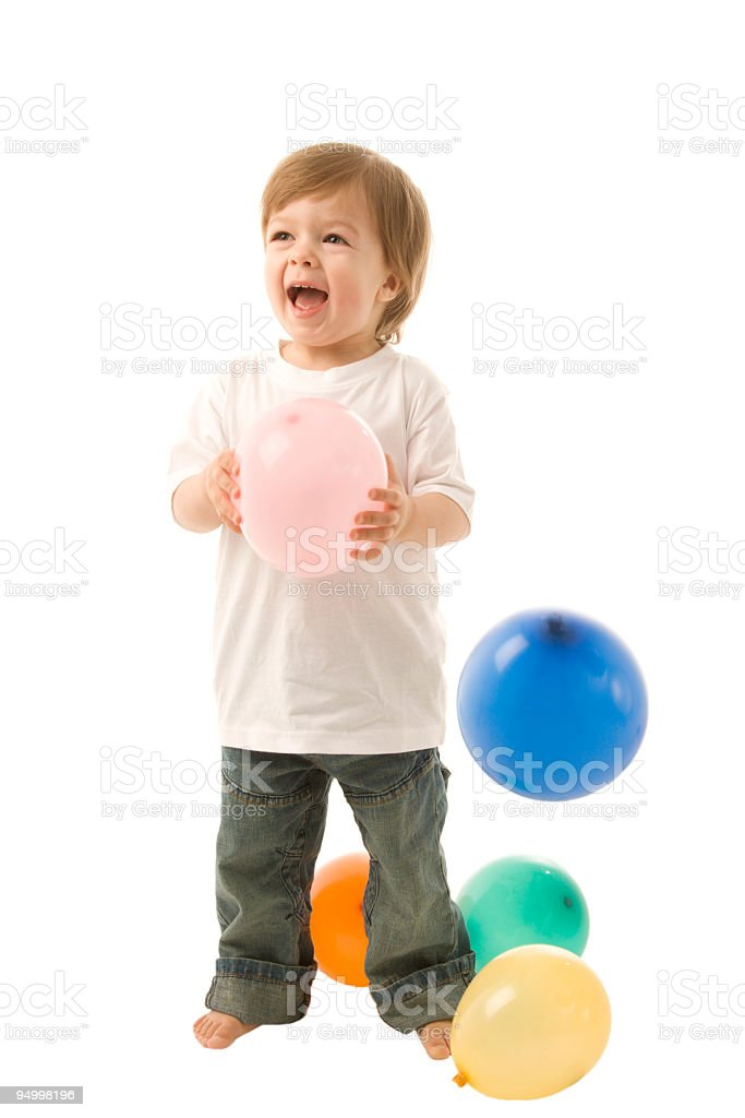 Little boy and balloons royalty-free stock photo