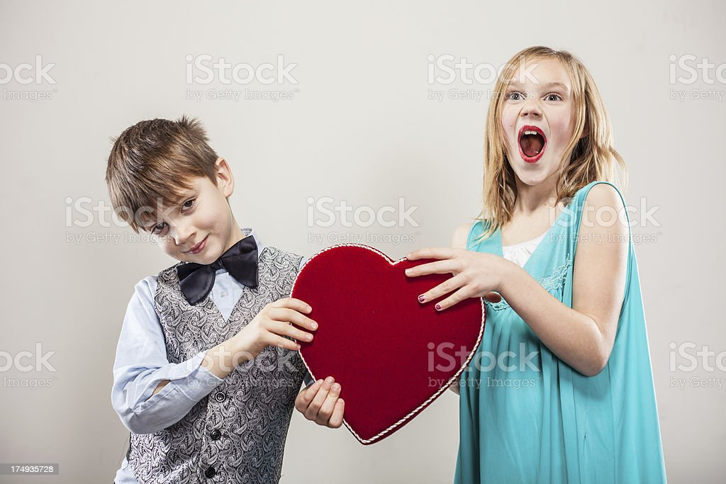 Little Boy and Girl on Valentine's Day Date royalty-free stock photo