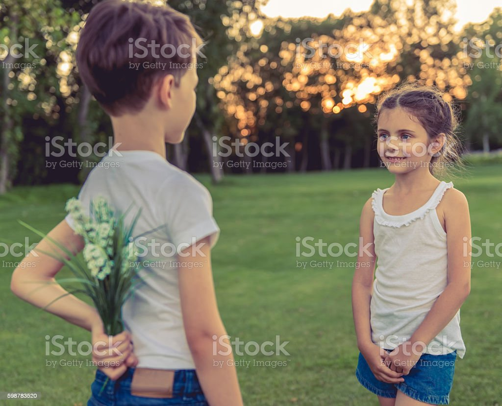 Little boy and girl stock photo