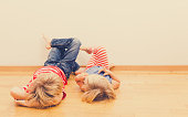 little boy and girl relax at home