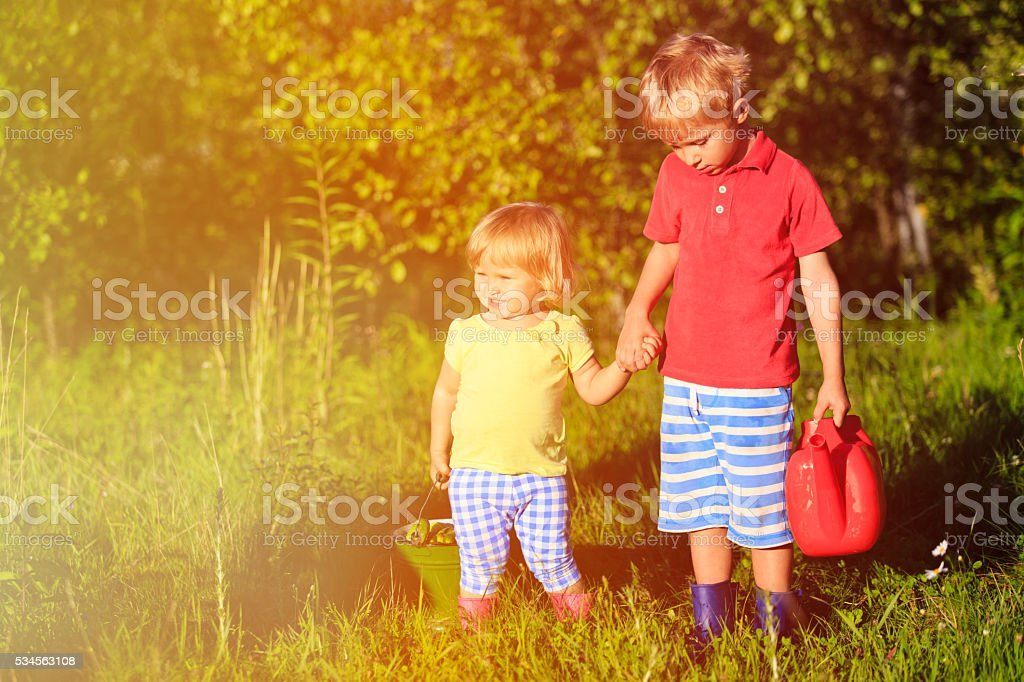 little boy and girl working in the garden stock photo