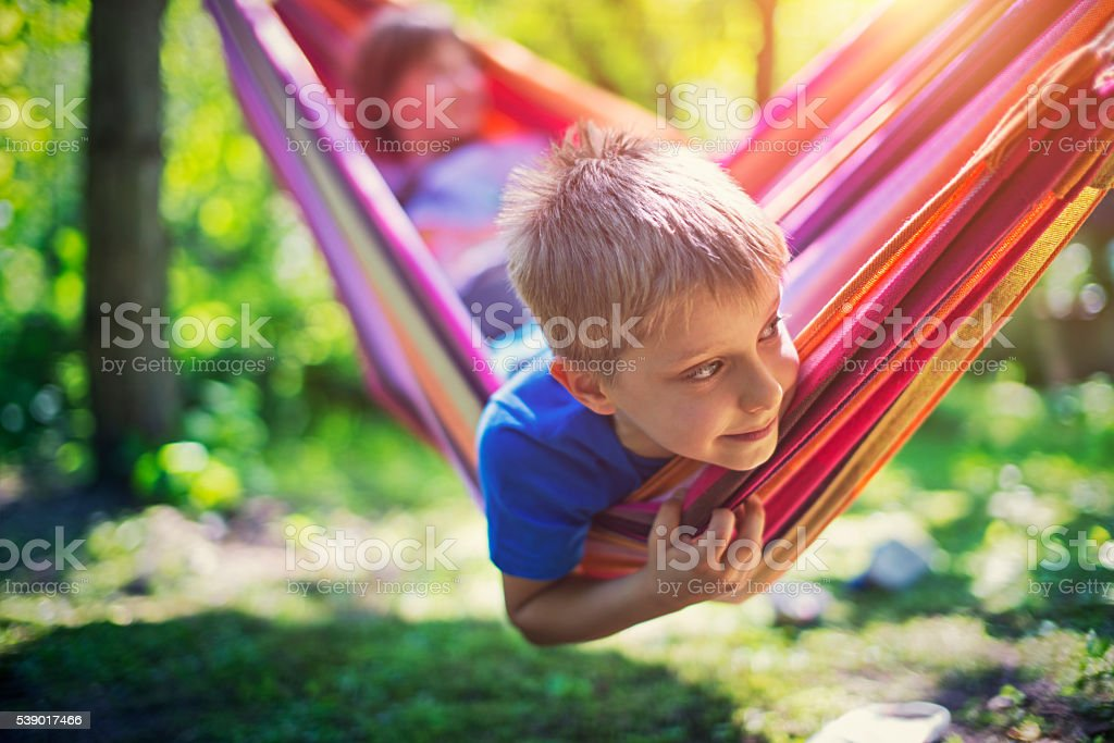 Little boy and his sister playing on hammock stock photo