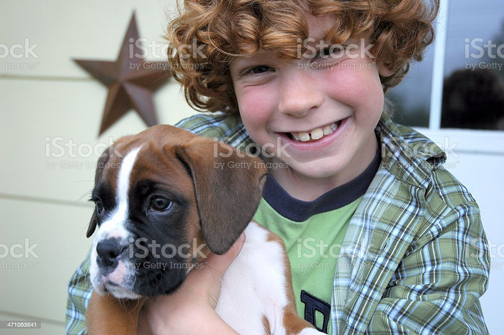 Little Boy and Puppy royalty-free stock photo
