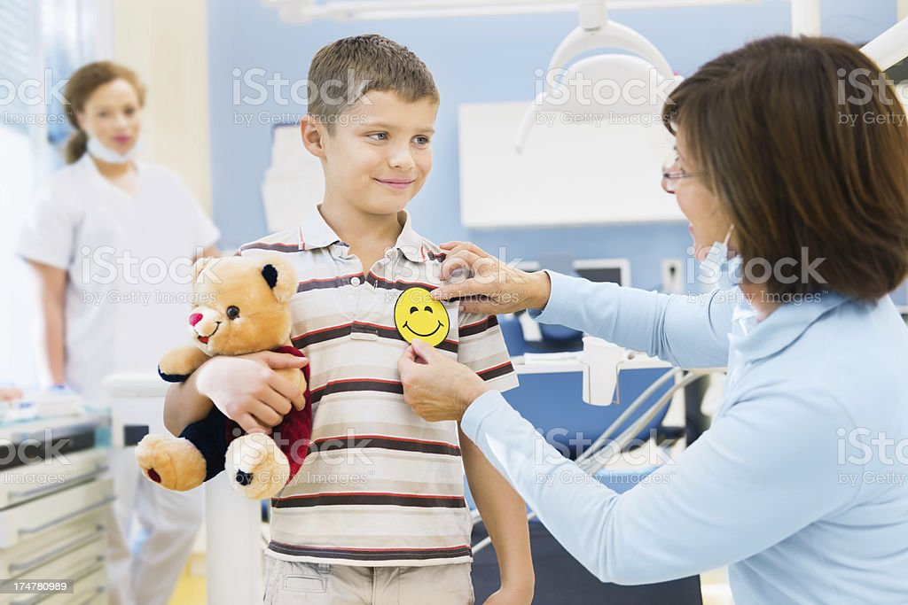 Little Boy at Dentist stock photo