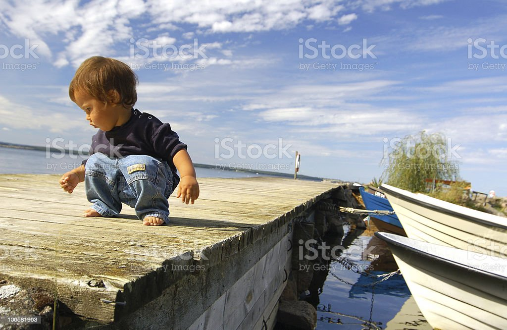 little boy  at pier royalty-free stock photo